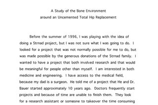 A Study of Bone Environment Around a Joint Replacement