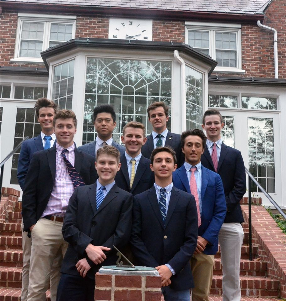 From left to right, front row: Elias Hyde and Gabriel Raffa. Middle row: Jake Pappo, Jackson Riffe, and Max Barton. Back row: Jack Curtin, Renny Gong, Charlie Richards, and Jack Weldon.