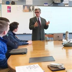 Len Edgerly '68 spoke to creative writing students during X block today about podcasting.