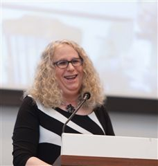 Dr. Rachel Levine '75 speaking at Belmont Hill in 2016