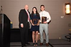 Pictured with Athletic Director Rich Roche are Maria Nitti and Sam Stephan