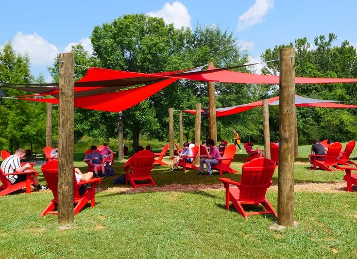 Students enjoy lunch under our new shades structures.