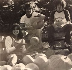 "Celebrating Halloween at Crystal in 1977 with Michelle Casey '78, Zach Griffin '80 and Nick Podell '80. Deb notes that ""CSUS had been co-ed for about six weeks when this photo was taken."""