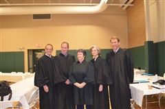 The Justices (l-r) Associate Justice Robert J. Lynn, Senior Associate Justice Gary E. Hicks, Chief Justice Linda Stewart Dalianis, Associate Justice Carol Ann Conboy, Associate Justice James P. Bassett.