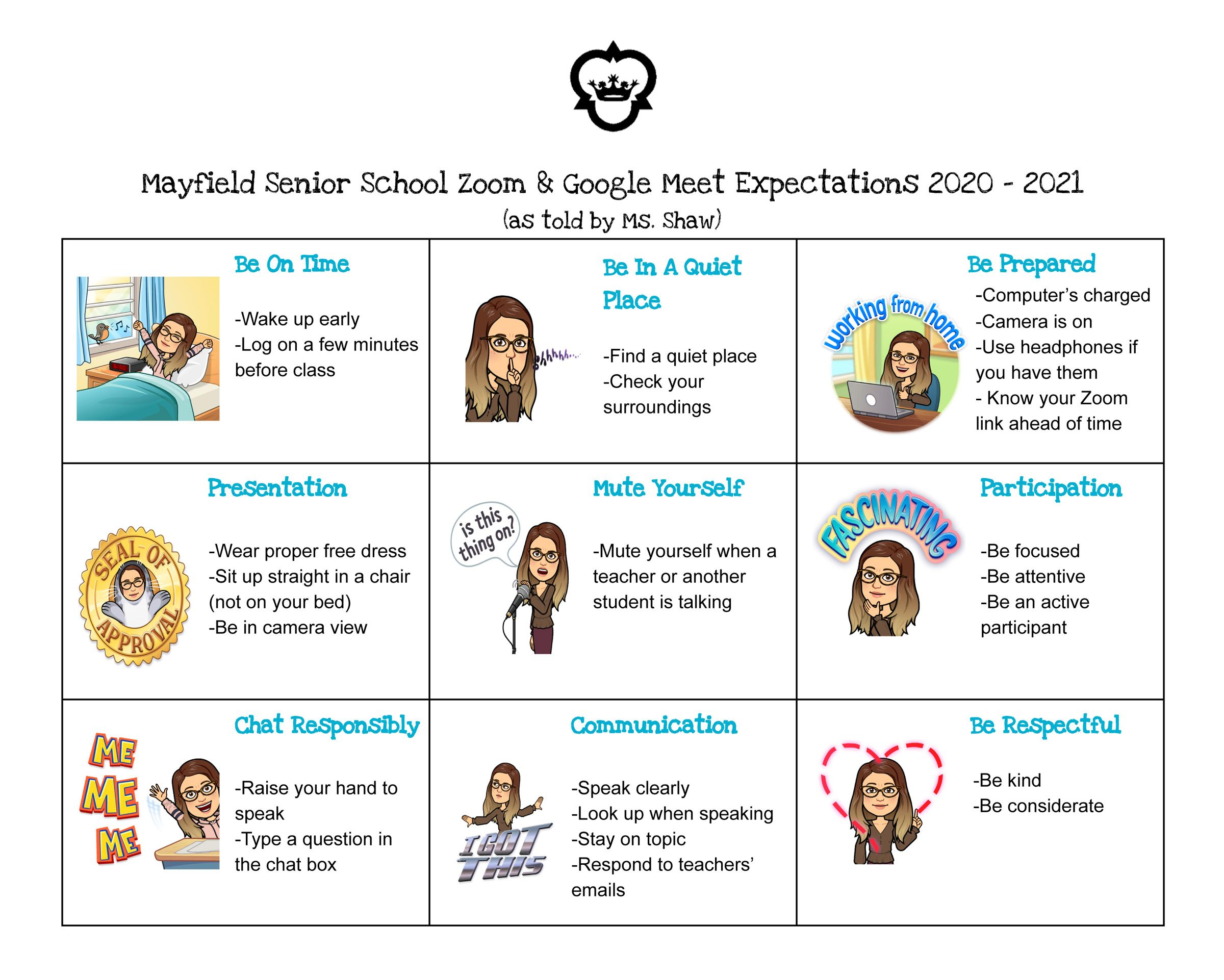 Remote Learning Expectations for Google Meet and Zoom Meetings