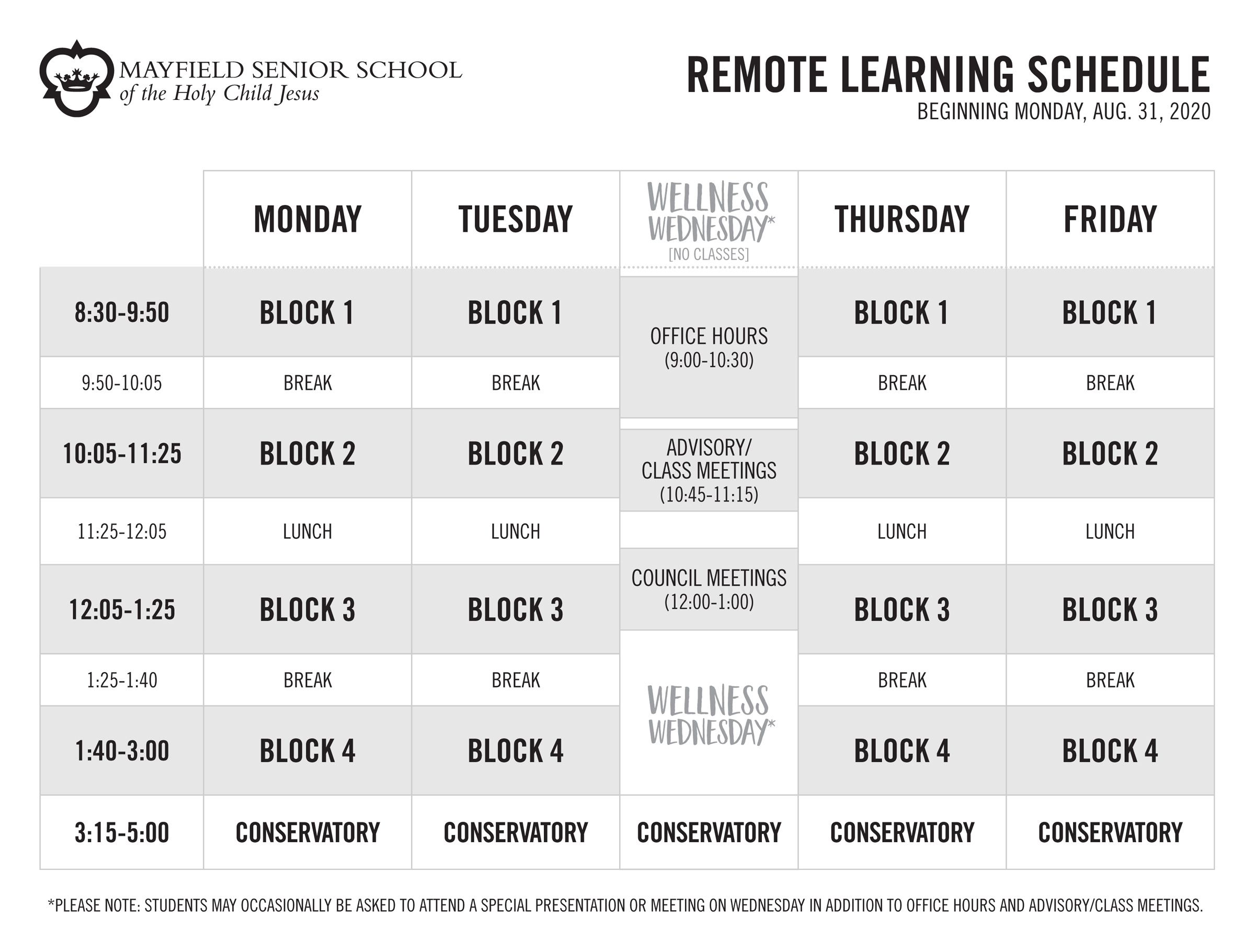 Remote Learning Block Schedule (Aug. 2020)