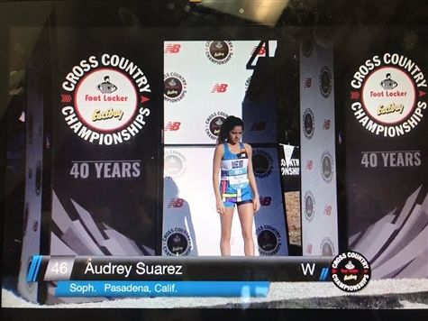 Audrey Suarez '21 runs at the 2018 Foot Locker Cross Country nationals in San Diego