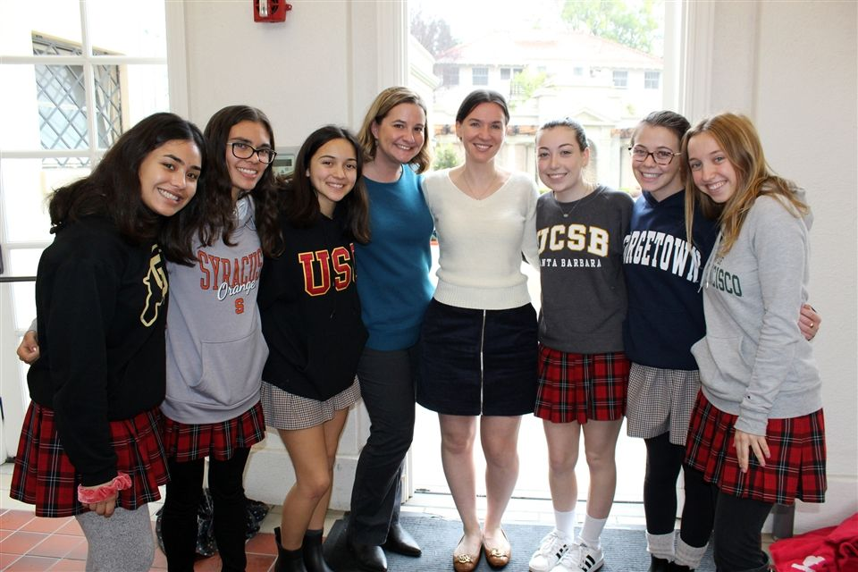 College Counselors Lynn Maloney and Samantha Pieper with college-bound Class of 2019 seniors
