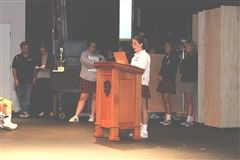 ASB President Chloe Kessel leads Monday's Community assembly