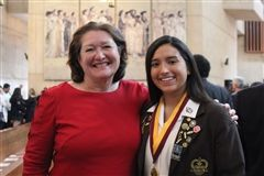 Andrea Huerta '19 with Head of School Kate Morin