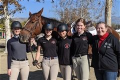 Mayfield equestrians Claire Williamson '20, Ellery Hotchkis '21, Hannah Attar '21 and Helena Horton '22 with Head of School Kate Morin