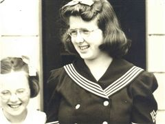 Diane O'Hagan Kolvas '45 (right) with her sister and fellow alum, Joyce O'Hagan Nores '49