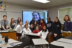 Mayfield's 2019-20 M3 teams with science teacher Michael Dimen (L), math department chair Melissa Tighe (R) and alumnae mentor Elizabeth Dimen '16 (on screen)
