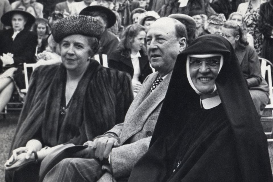 Dr. Charles and Vera Strub, who purchased the Mayfield campus for the Society of the Holy Child Jesus, with Reverend Mother Mary Francis
