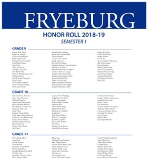FA Fall of 2018-19 Honors/High Honors Roll Recipients Named
