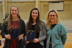 Head of School Award recipients Bridget Tweedie '17 and Mackenzie Buzzell '17 with Head of School Erin P. Mayo.
