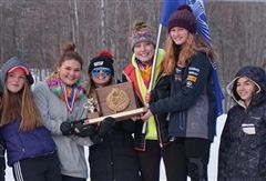 FA girls' alpine skiers make it a sweep of both Nordic and alpine girls' Maine Class A State Ski Championships with their team victory and a trophy brought home to the Academy.