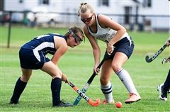 Abigail Hewes defends a Yarmouth player during their 3-0 Western Maine Conference win.