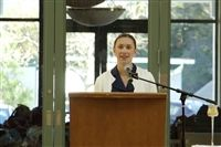 Ms. Ortega, pictured at FSHA giving the reflection at a past Mass