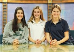 Three of the eleven Gold Circle winners at Sacred Heart's Today Show set.