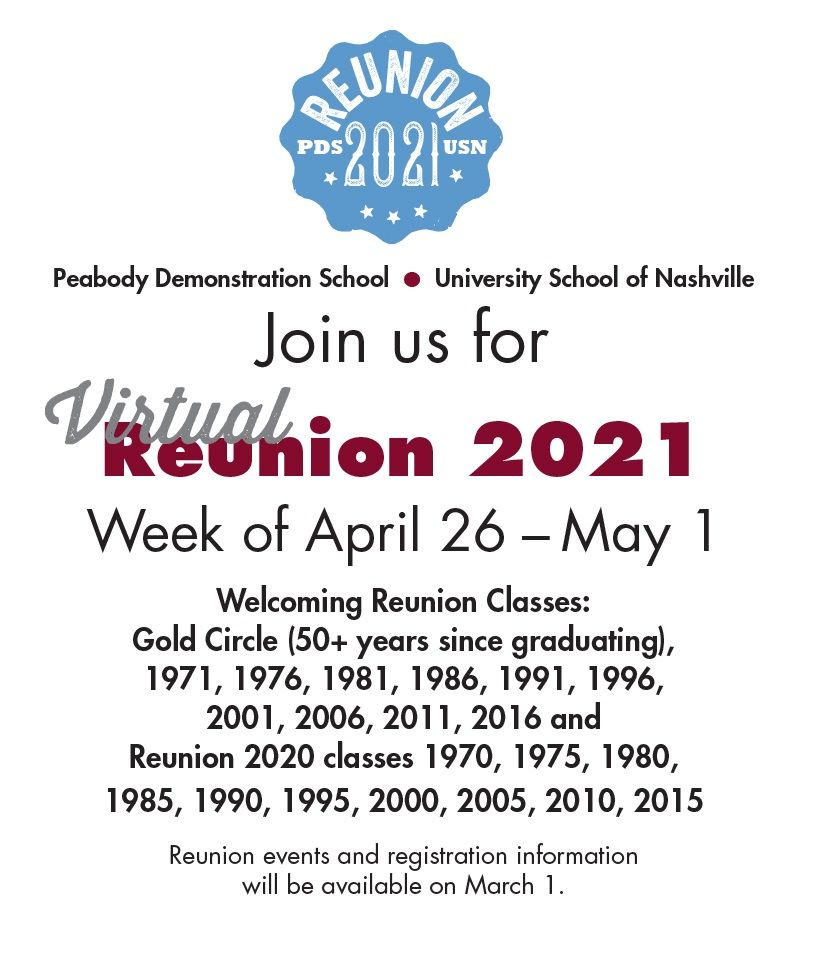 Reunion 2021, April 26-May 1, 2021
