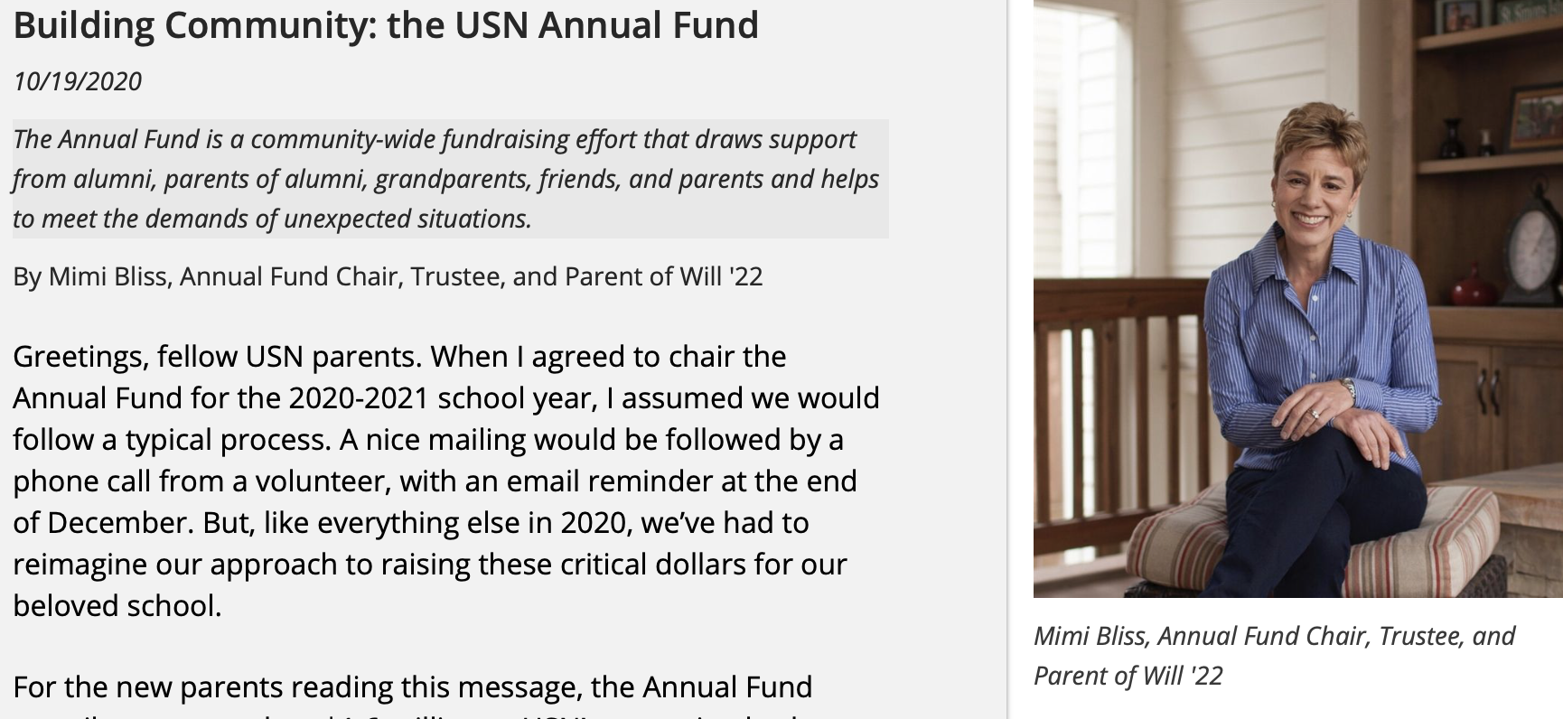 Letter from the 2020-21 Annual Fund Parent Chair, Mimi Bliss