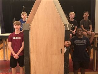 "Middle School students began building the ""Frozen Jr."" set in mid-July."