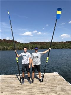 High School rowers Jon Lippolis '21 and Ethan Herrell '21 .