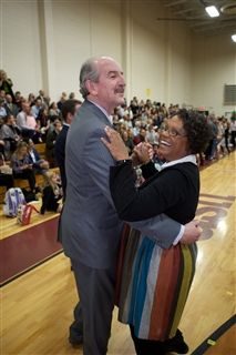 Director Vince Durnan waltzes with Fourth Grade Teacher Kim Avington during Parents' Day on Monday, November 25.