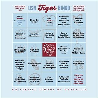 Repost & share using #USNtigerpride as you complete each square.