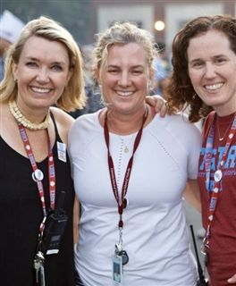 USN parents Kobie Pretorius, Joanna Hall, and Anna Cramer during Fall Fest 2019