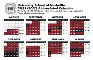 Wku Academic Calendar 2022.Usn 2021 2022 Overview Calendar Released University School Of Nashville