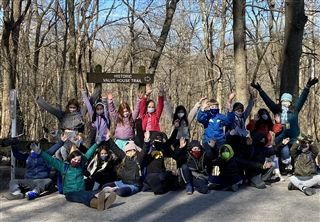 Ellen Haber's fourth grade class after completing the Ganier Ridge Trail hiking challenge.