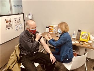 Director Vince Durnan receives his first COVID-19 vaccine on Saturday, February 20 along with other Davidson Co. educators.