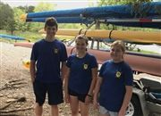 USN rowers Ethan Herrell '21, Lucy Cramer '24, and Margaret Griffin '25.