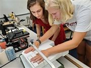 Aasha Zinke and Dabney Moore work on a project during their Advanced Build and Design class.