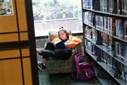 Lucy Mauries '21 enjoys a book in Hassenfeld Library in fall 2019.