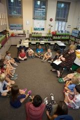 Lower School students gather for their morning meeting.