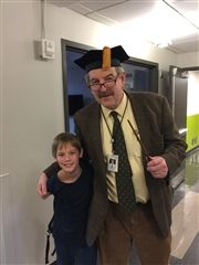 Director Vince Durnan with Jack Wellons IV '24 during USN's Harry Potter-themed Homecoming.