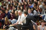 Director Vince Durnan as coach during the Homecoming students vs. faculty basketball game.
