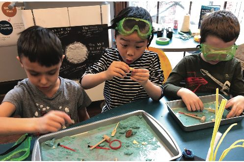 Kindergarteners simulate the excavation of whale shark fossils in the Design Lab.