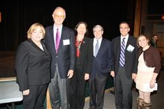 Head of School Judy Guild with George Bissell, Kenyon Bissell Grogan '76, Jeffrey Grogan, Dr. Jonathan Gruber, and Ava Gruber.