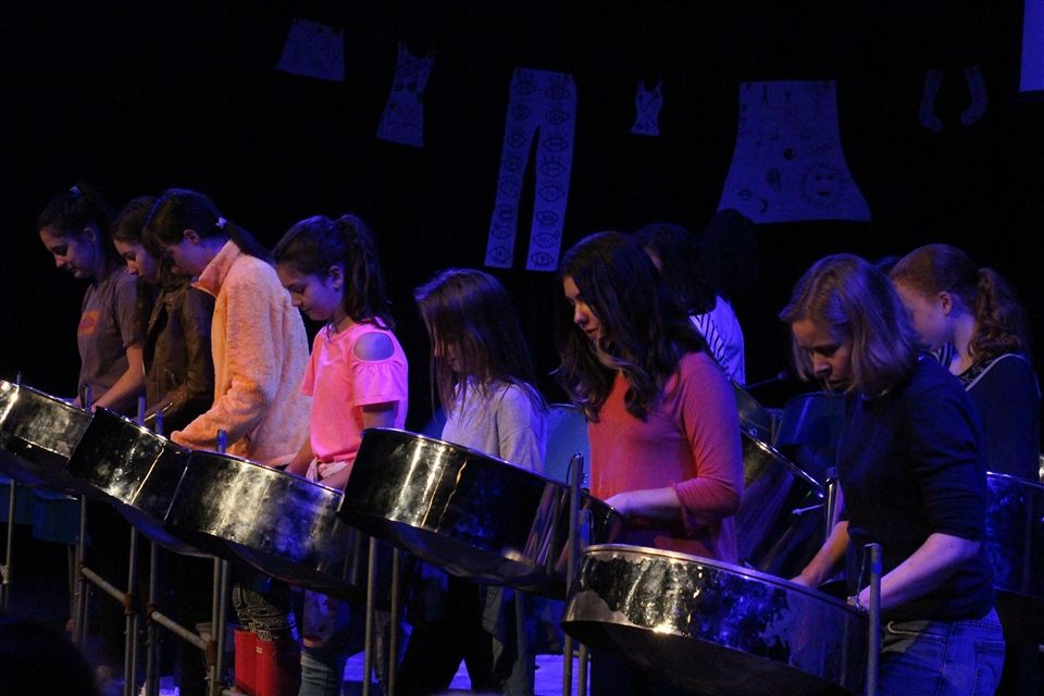 Stacy Bell (first from right) and the steel drum e-lective.