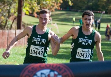 Aiden Pillard '15 and Tristan Colaizzi '16 winning the 2013 DC State Cross Country Championships. Photo credit Roger Colaizzi