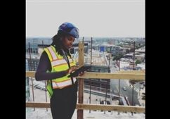 Maya Braxton '10 on her construction worksite