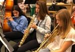 Abby Kanter '22, Claire Cooper '22, and Maggie Day '22 during a creative music session