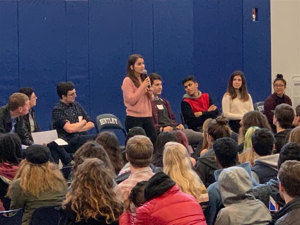 Mr. Calabrese and Ms. Anderson listening on as our panelists share their college experience with current students. Panelists (L-R): Elliot Heywood '17,  Sydney Babiak '15, Wyn Barnum '17, Alec McKendell '18, Annalise Kelloff '18 and Julia Jung '16.