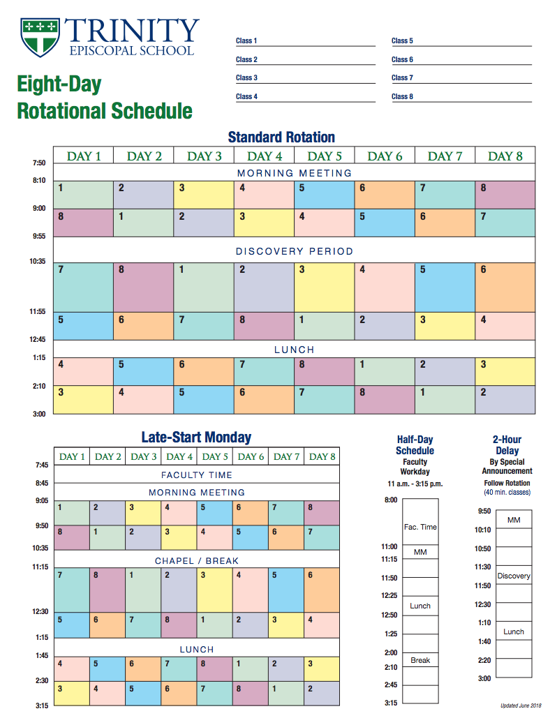 Eight-Day Rotational Schedule (PDF)