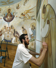 Iconography frescoes fill sanctuary at St. Cyprian in Powhatan
