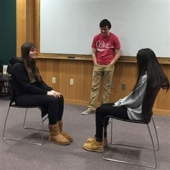 Emily and Riya participate in an exercise in Acting Lab.